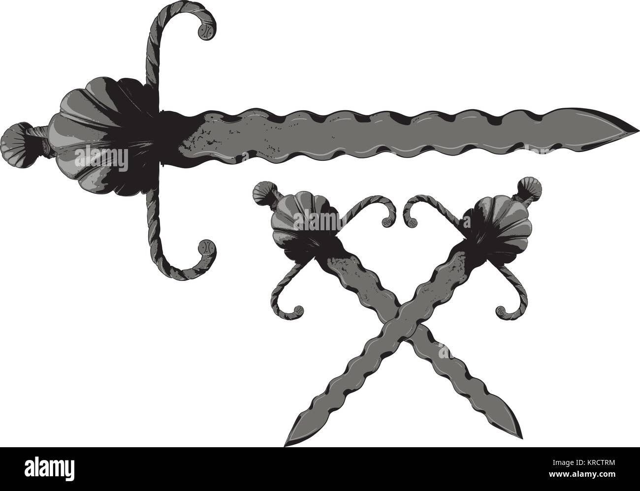 wavy sword Flamberge - Stock Vector
