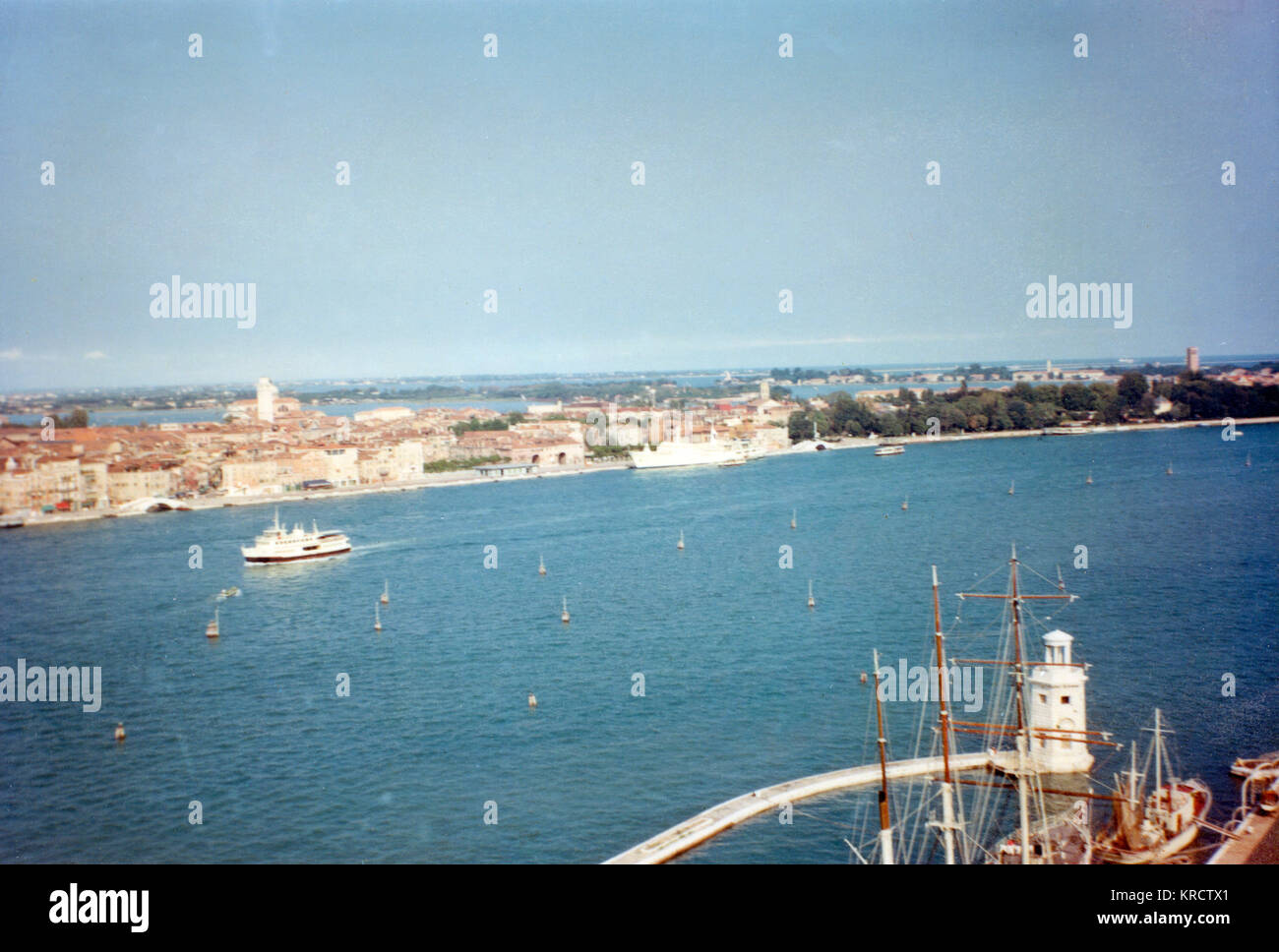 General view from the top of the campanile in Venice, Italy. Date: 1968 - Stock Image