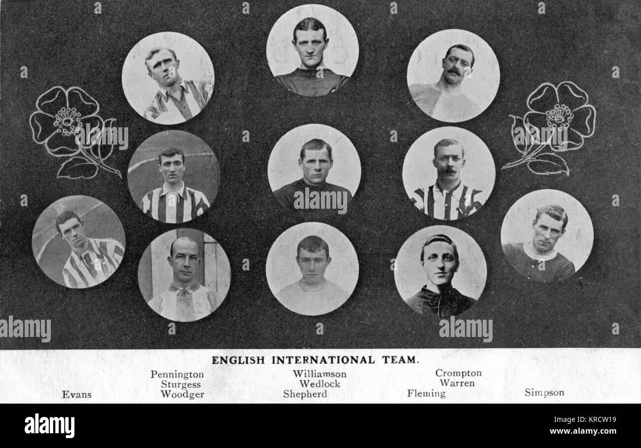 Portraits of the English International Football Team -- Evans, Pennington, Sturgess, Woodger, Williamson, Wedlock, - Stock Image