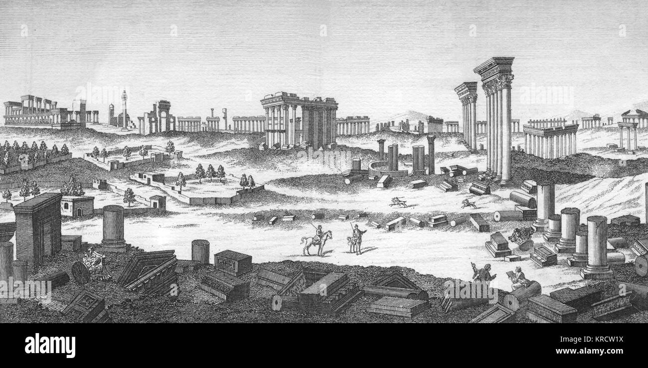 general view of the ruins 'The Ancient City of Palmyra as it now appears.' Date: - Stock Image