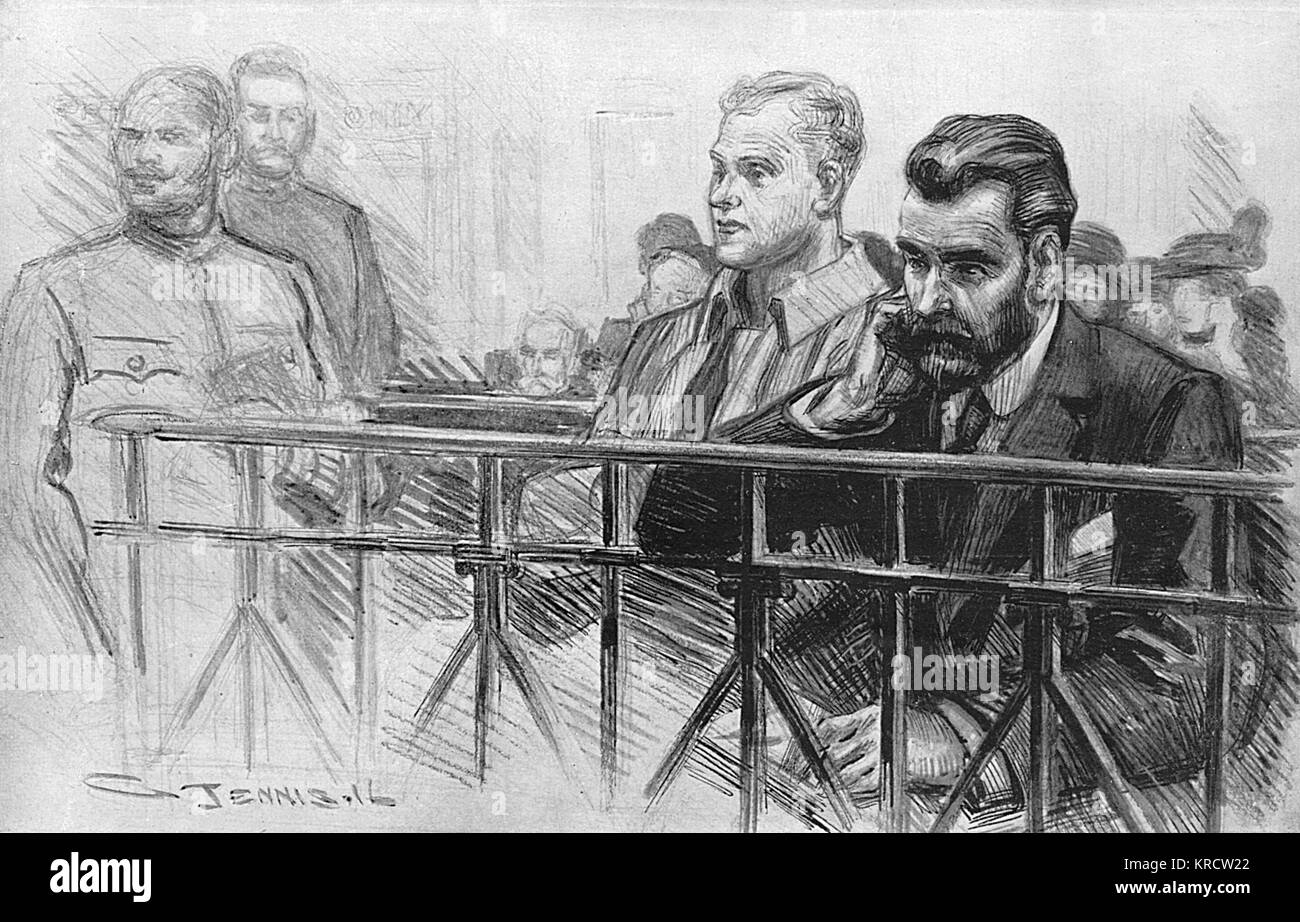Roger Casement and Julian Bailey are tried for treason. Casement was found guilty and later hanged. Date: 1916 - Stock Image
