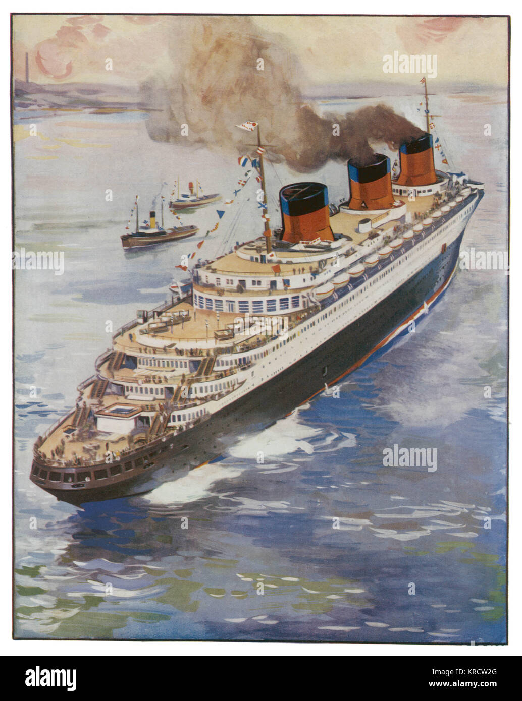 The 79,000 ton Trans-Atlantic French steam ship, Normandie. Date: 1935 - Stock Image