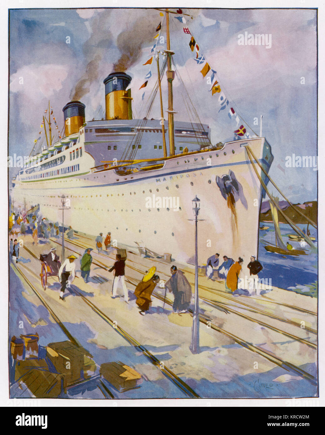 The Matson-Oceanic trans- Pacific liner. Later sold and renamed S.S. Homeric. Damaged in a fire at sea in 1973, - Stock Image