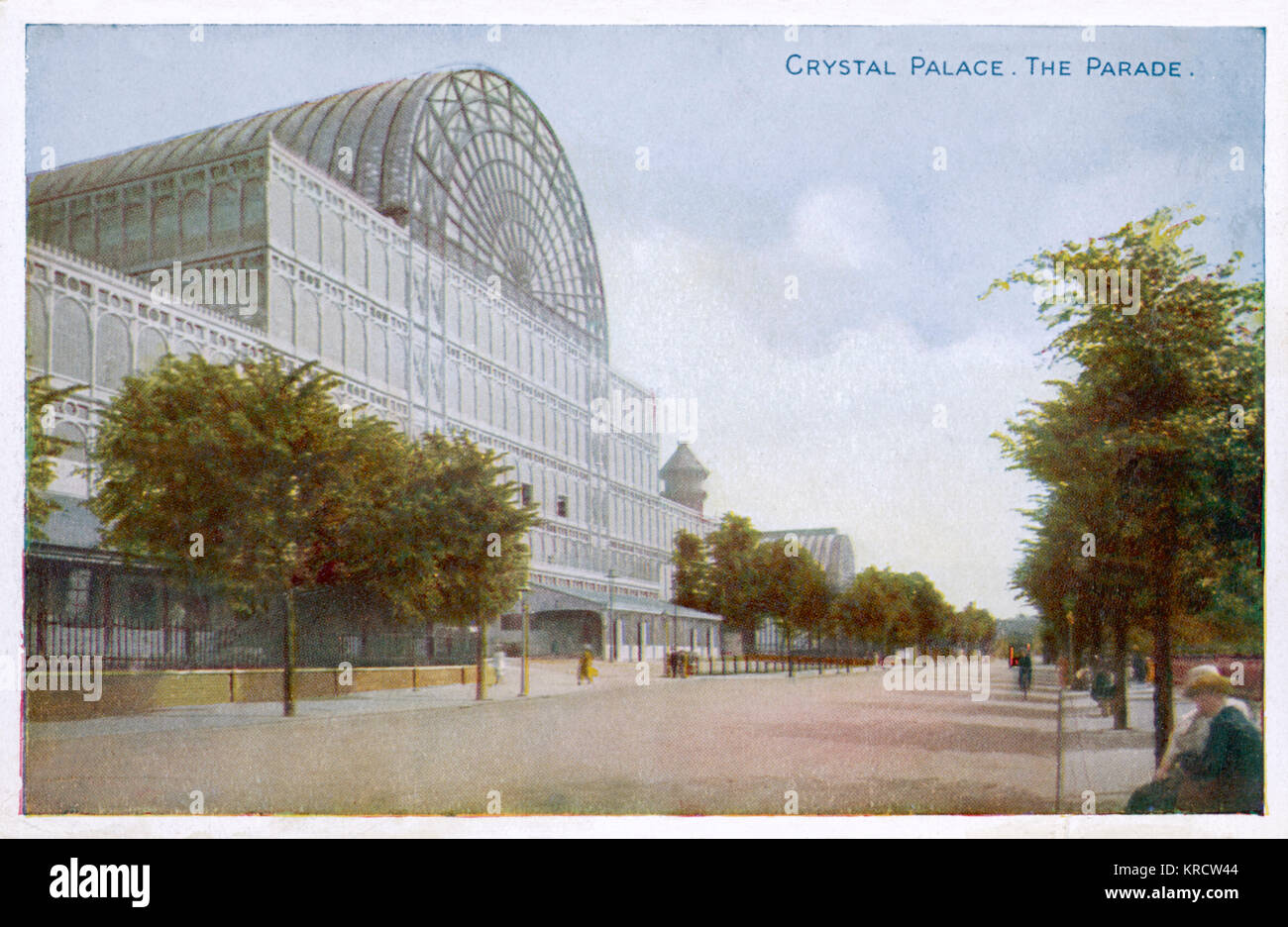 The Crystal Palace from The Parade which is looking unusually peaceful. Date: Circa 1900 - Stock Image