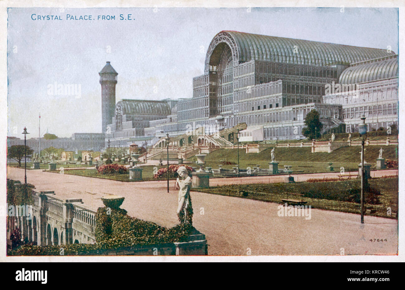 The Crystal Palace and grounds, looking from the south east Date: Circa 1900 - Stock Image