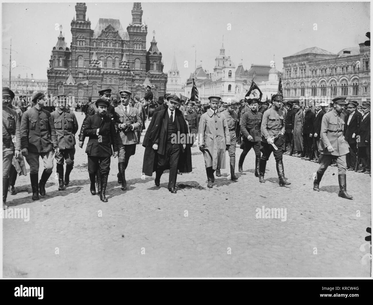 Vladimir Lenin in Red Square, Moscow. Date: 1918 Stock Photo