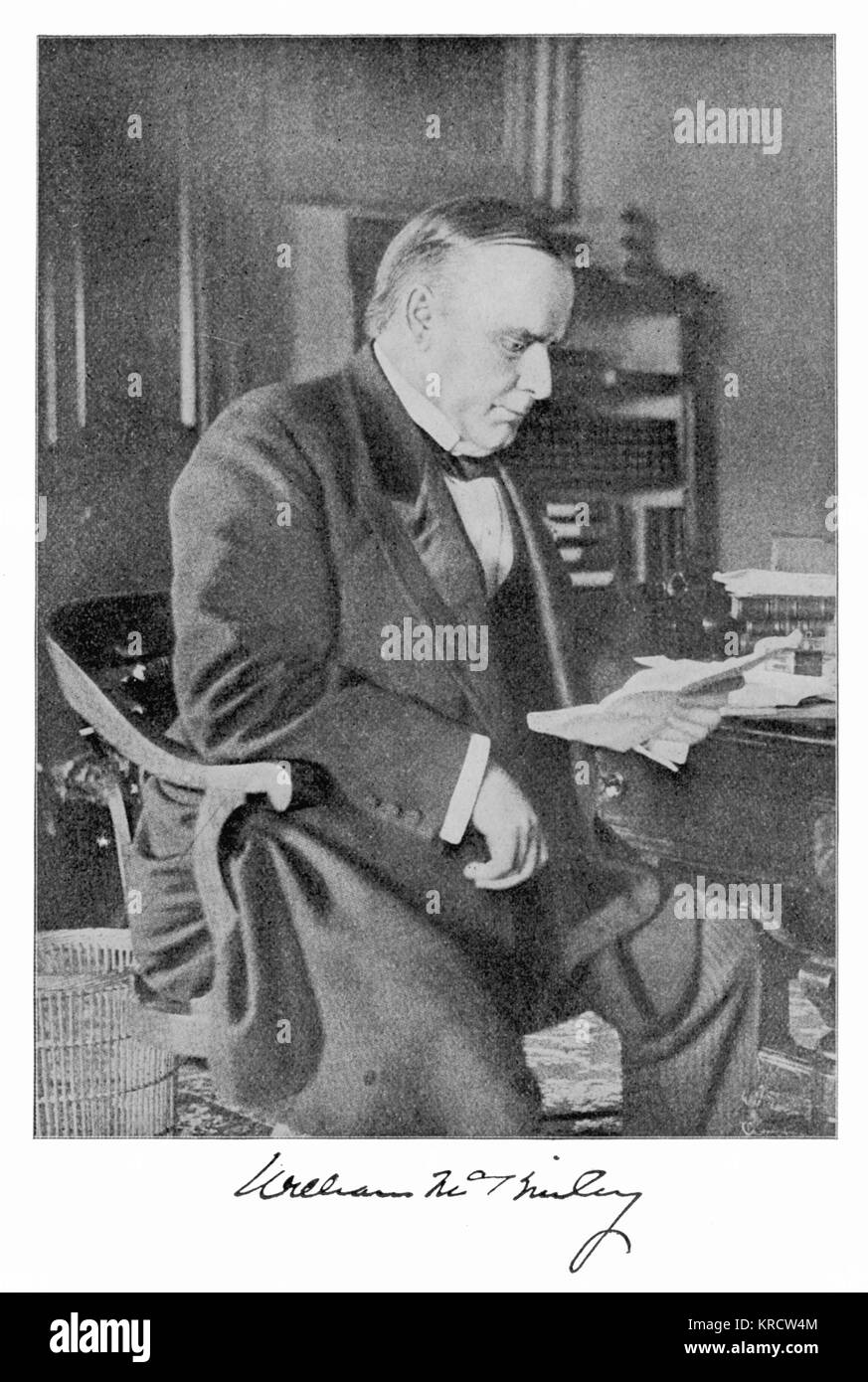 WILLIAM MCKINLEY 25th President of the United States. Assassinated. Died, September 14, 1901. Date: 1843 - 1901 - Stock Image