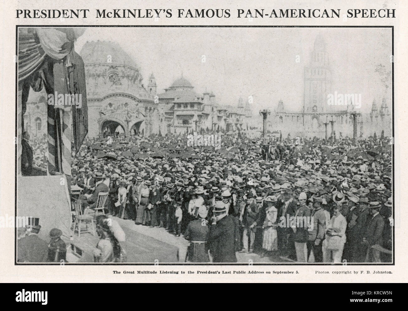 WILLIAM MCKINLEY Crowds listening to McKinleys last public address the day before his shooting. Date: Sept 5th,1901 - Stock Image