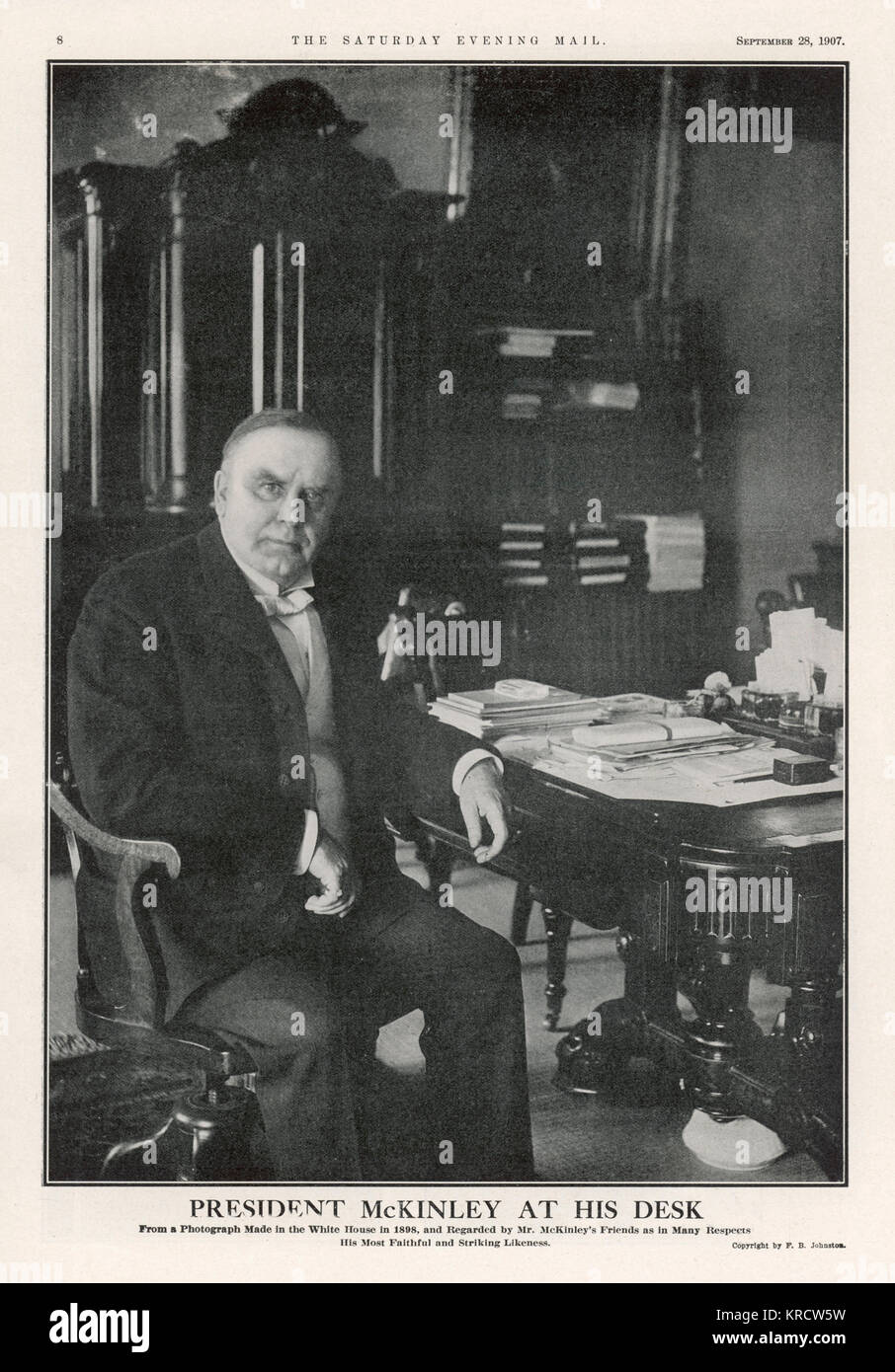 WILLIAM MCKINLEY President McKinley photographed at his desk in the White House in 1898. Date: 1843 - 1901 - Stock Image