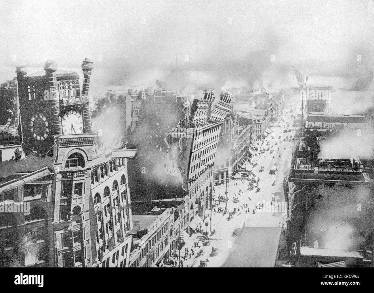 The devastation caused by the earthquake along a street of tall buildings. Date: April 18th, 1906 - Stock Image