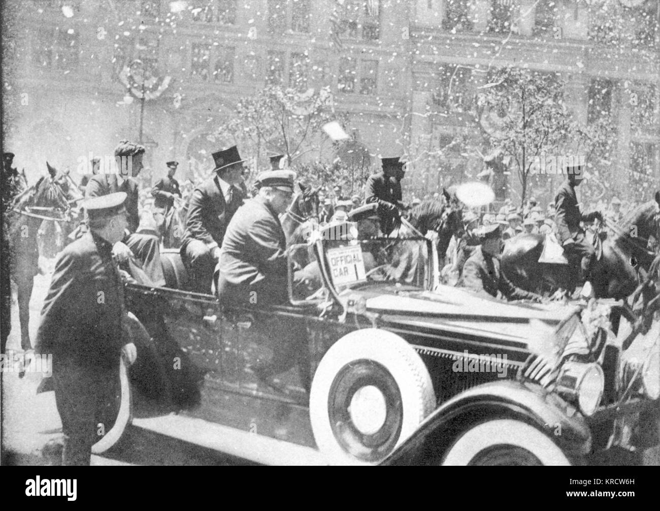 Lindbergh is welcomed to New York as a hero. - Stock Image