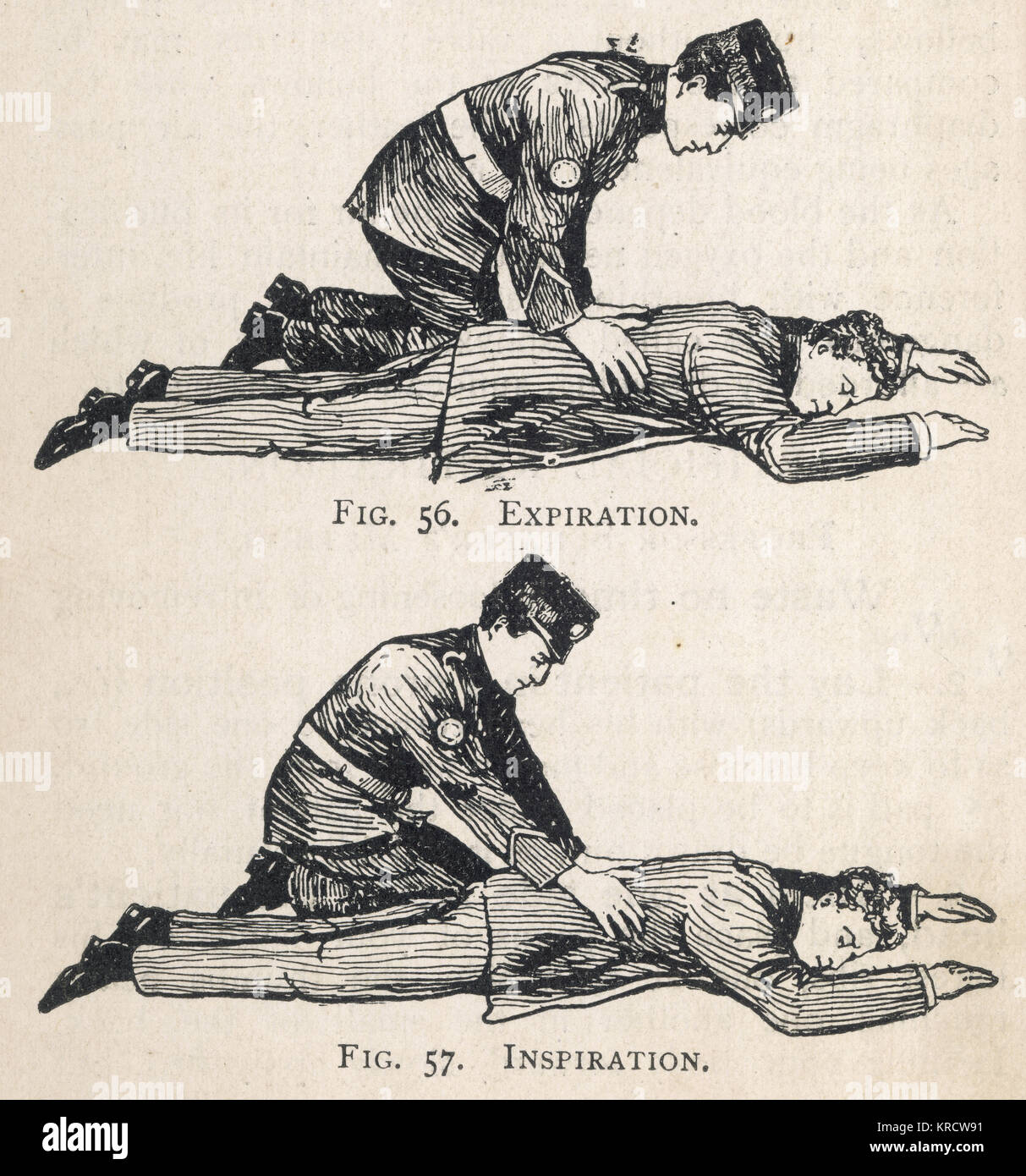 First Aid Diagram  Illustrating Artificial Respiration