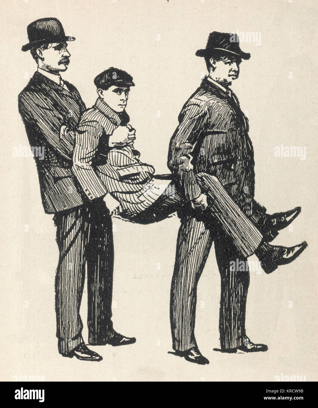 First aid, the Fore and Aft Method of carrying a patient where no stretcher is available. Date: 1908 Stock Photo