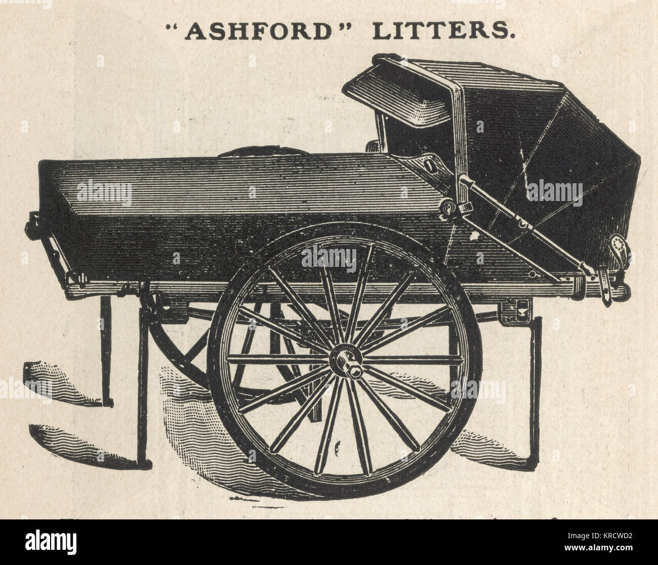The Ashford Litter, for use in first aid etc. This is the 1899 model, with a two-wheeled undercarriage, prices from - Stock Image