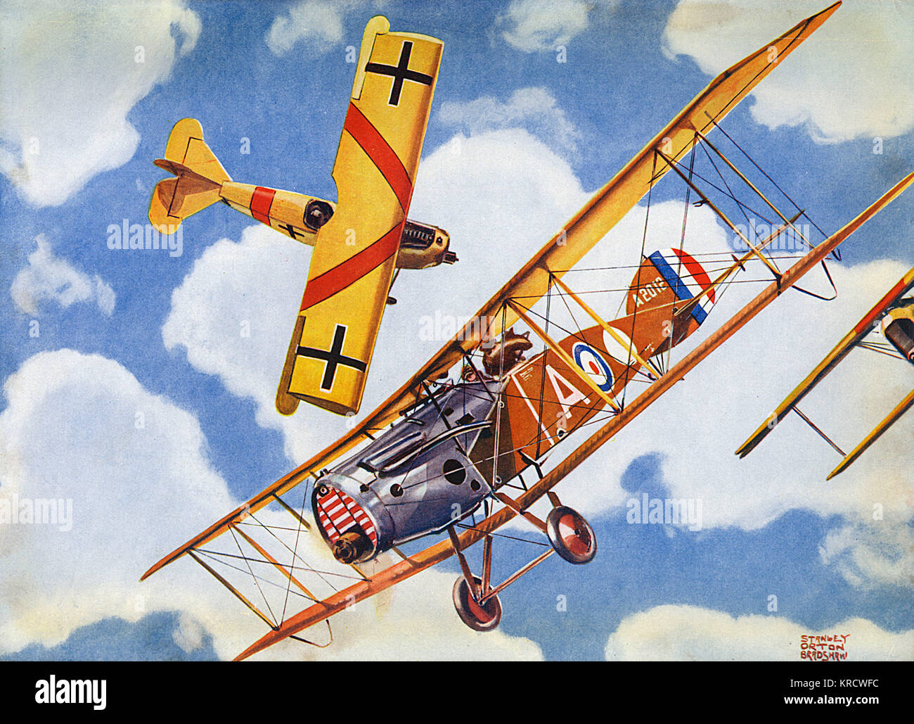 A deadly game of life and death is played out over Europe as a Bristol flies against Fokker D.VIIs Date: 1918 - Stock Image