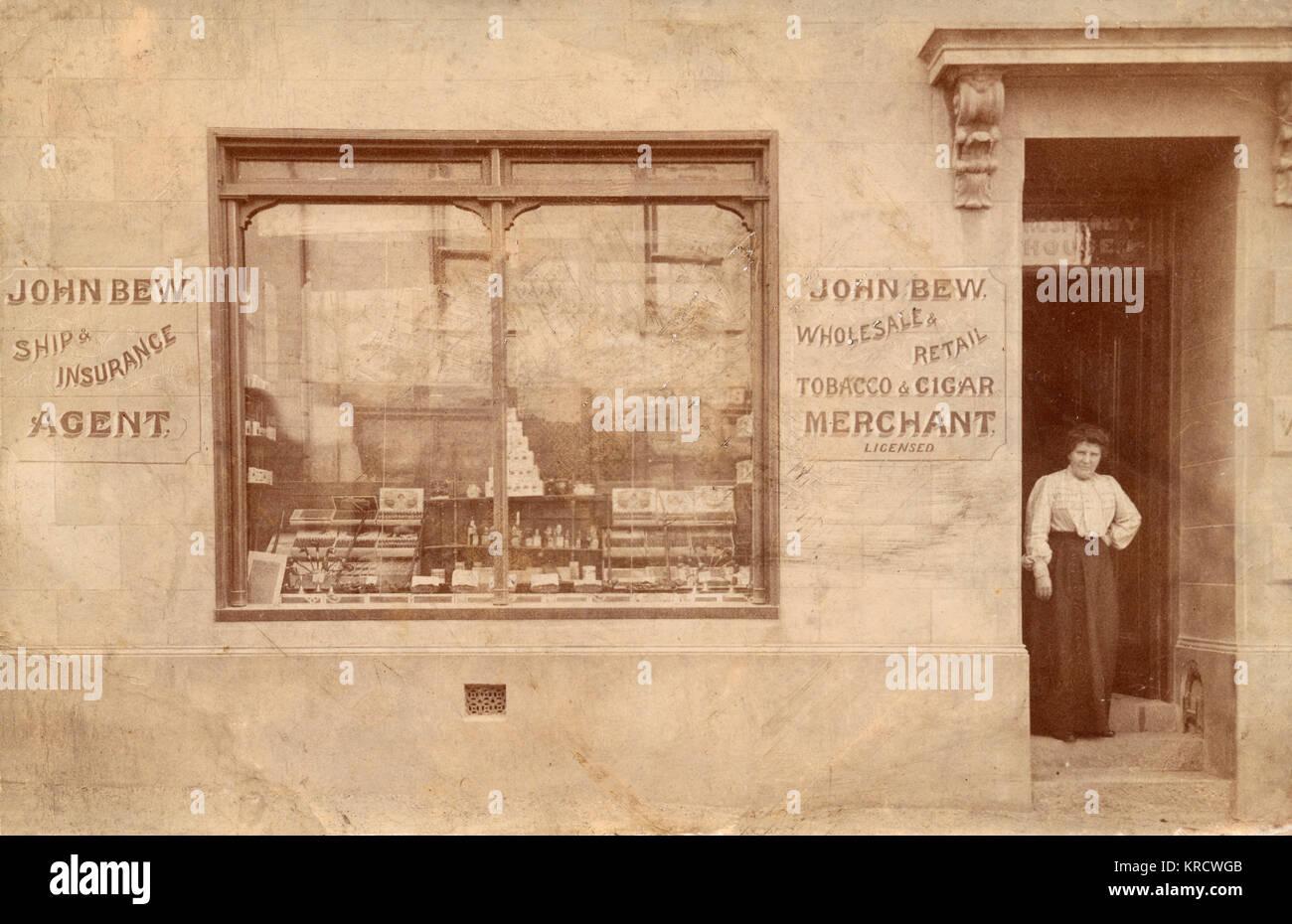 John Bew, Wholesale & Retail Tobacco & Cigar Merchant, and Ship Insurance Agent -- his shop front - Stock Image
