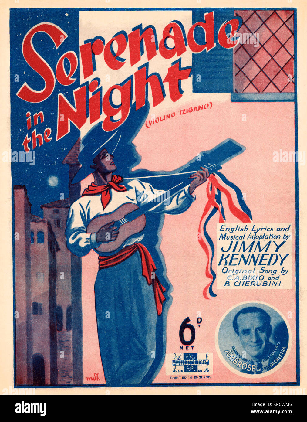 'Serenade in the Night'. A guitarist serenades below the window of his hearts desire. The lady hasn't - Stock Image