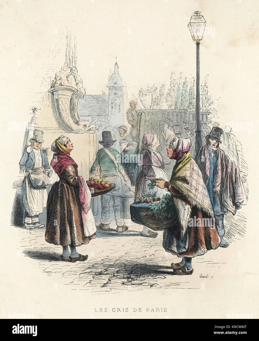 The cries of various street traders ring out in Paris Date: 1850 - Stock Image