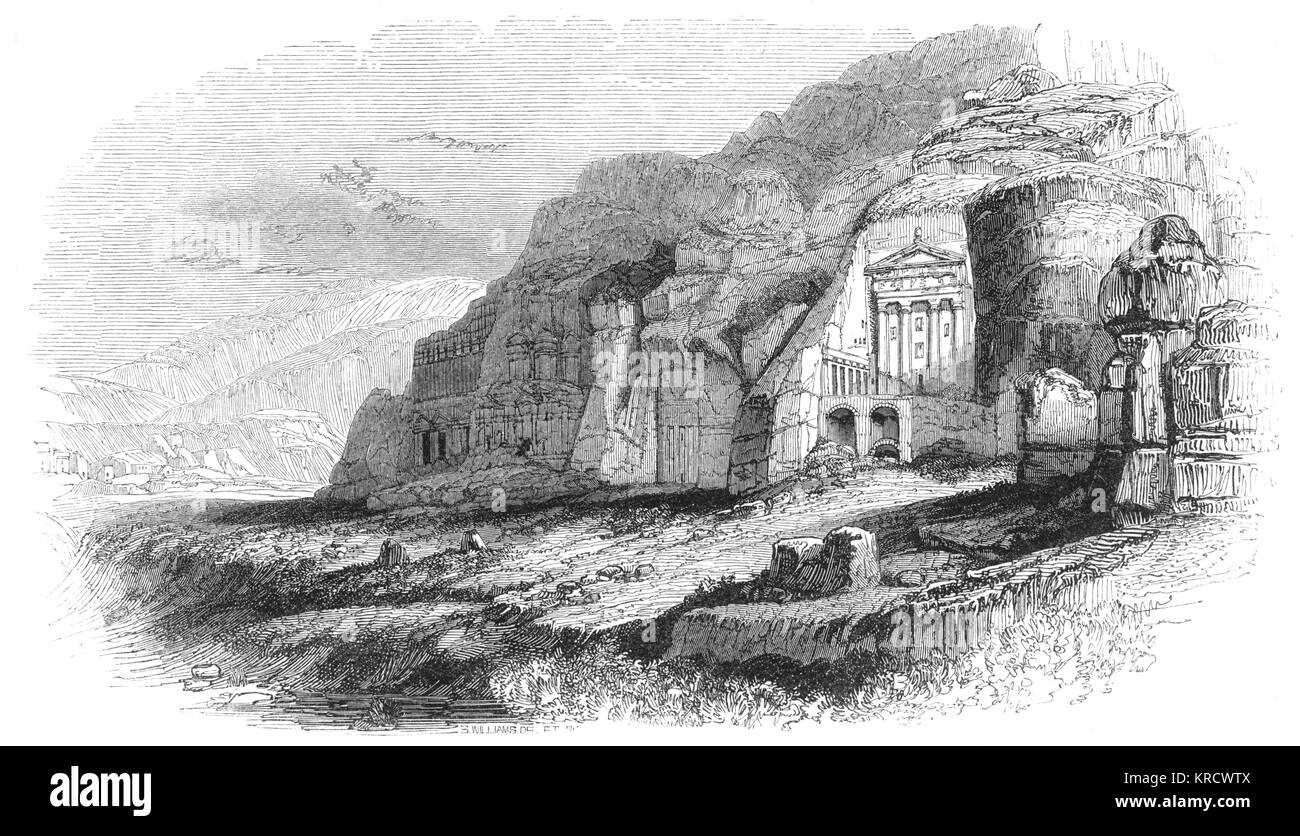 Petra: the Urn Tomb (a tomb surmounted by an urn) Date: circa 1836 - Stock Image