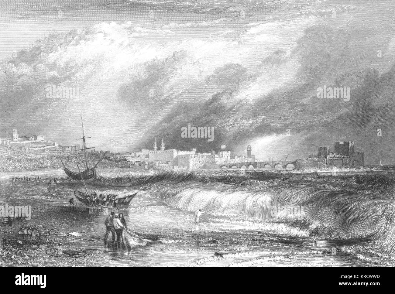 Sidon: on the sea shore Date: 1834 Stock Photo