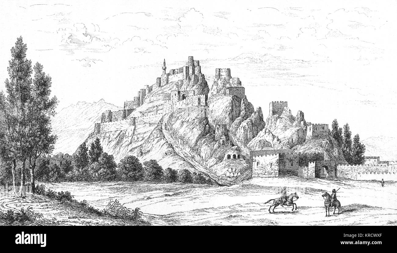 The dominant citadel of Van, which became the capital of the Urartian Empire in the 9th century BCE. The natural - Stock Image