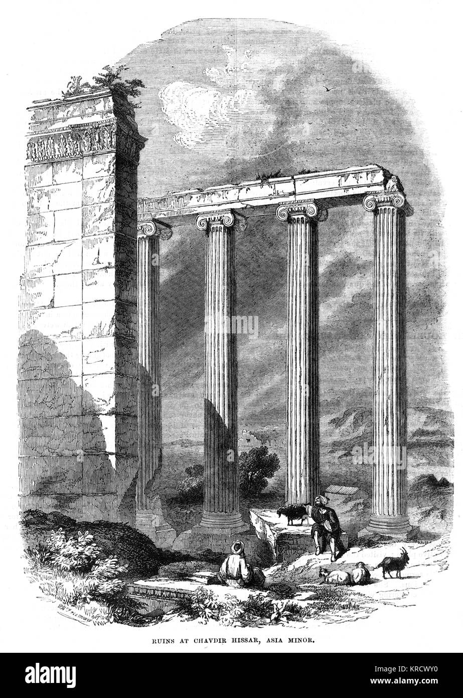 The ruins of Hellenistic period buildings at Cavdir. Date: 1880 - Stock Image