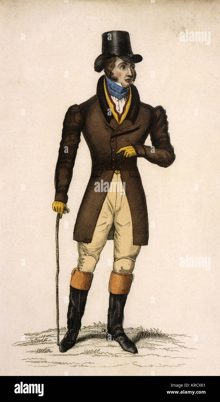 An English gentleman in tailored country clothing for which England was renowned. His coat is cut away at the front - Stock Image