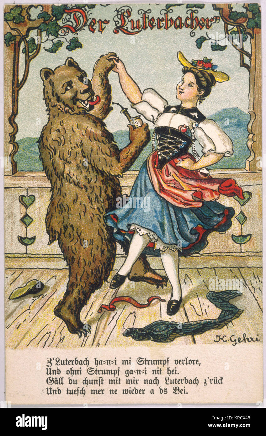 Young woman in peasant costume  dances with a lascivious- looking bear.       Date: late 19th century? - Stock Image