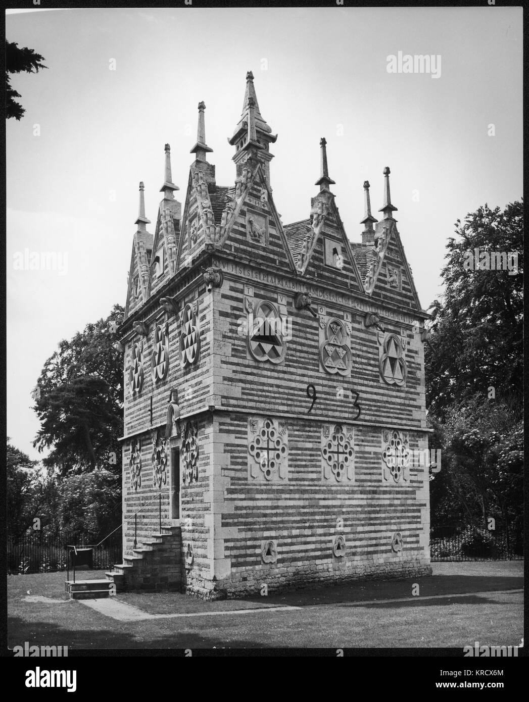 The triangular lodge was  designed by Sir Thomas Tresham  in 1593 after a period of  imprisonment for his Catholic - Stock Image
