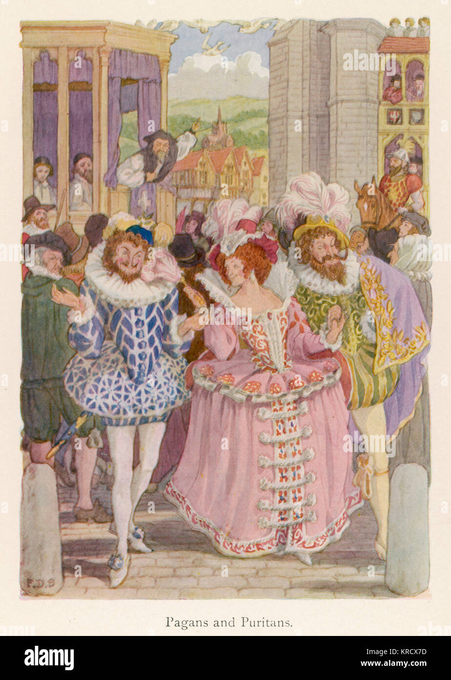 Two Elizabethan Pagan dandies,  hand in hand with a young  woman gaily dressed in pink, are berated by Puritans - Stock Image