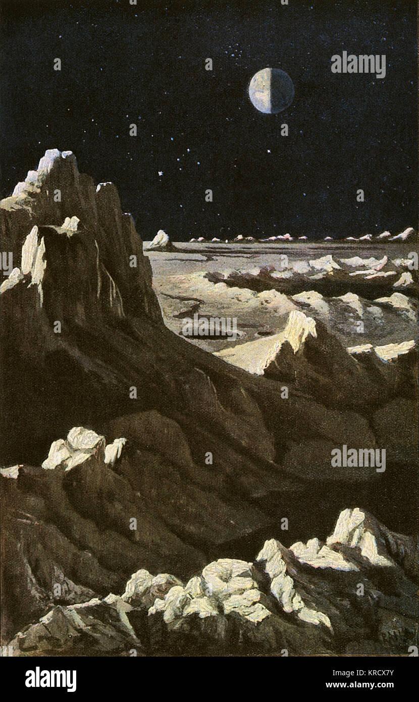 A lunar landscape in half sunlight : the Earth in the  distance is half in sunlight,  half in darkness.      Date: - Stock Image