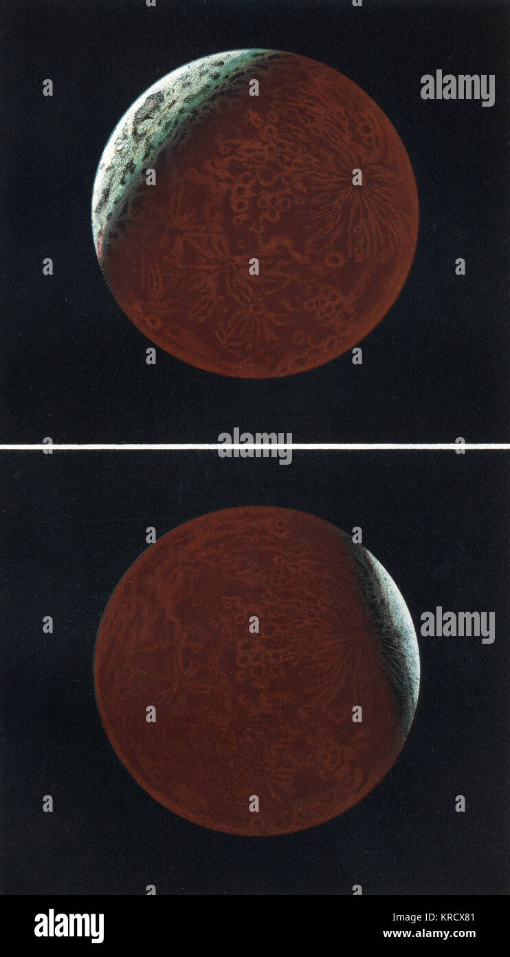 Total and partial eclipses  of the Moon.        Date: 1877 - Stock Image