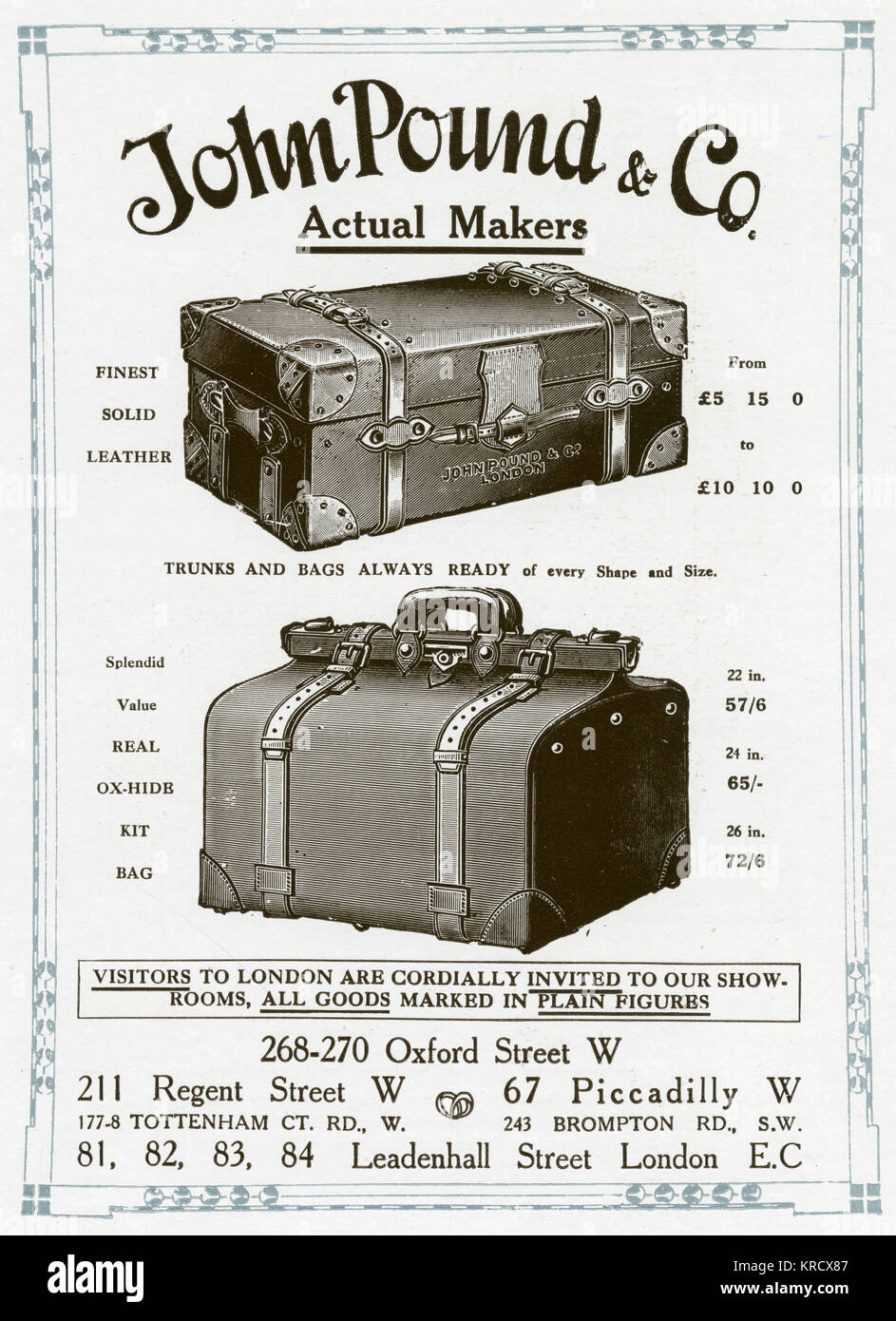 'Finest solid leather trunks and kit bags'. John Pound became Lord Mayor of London in 1904.  With less time - Stock Image