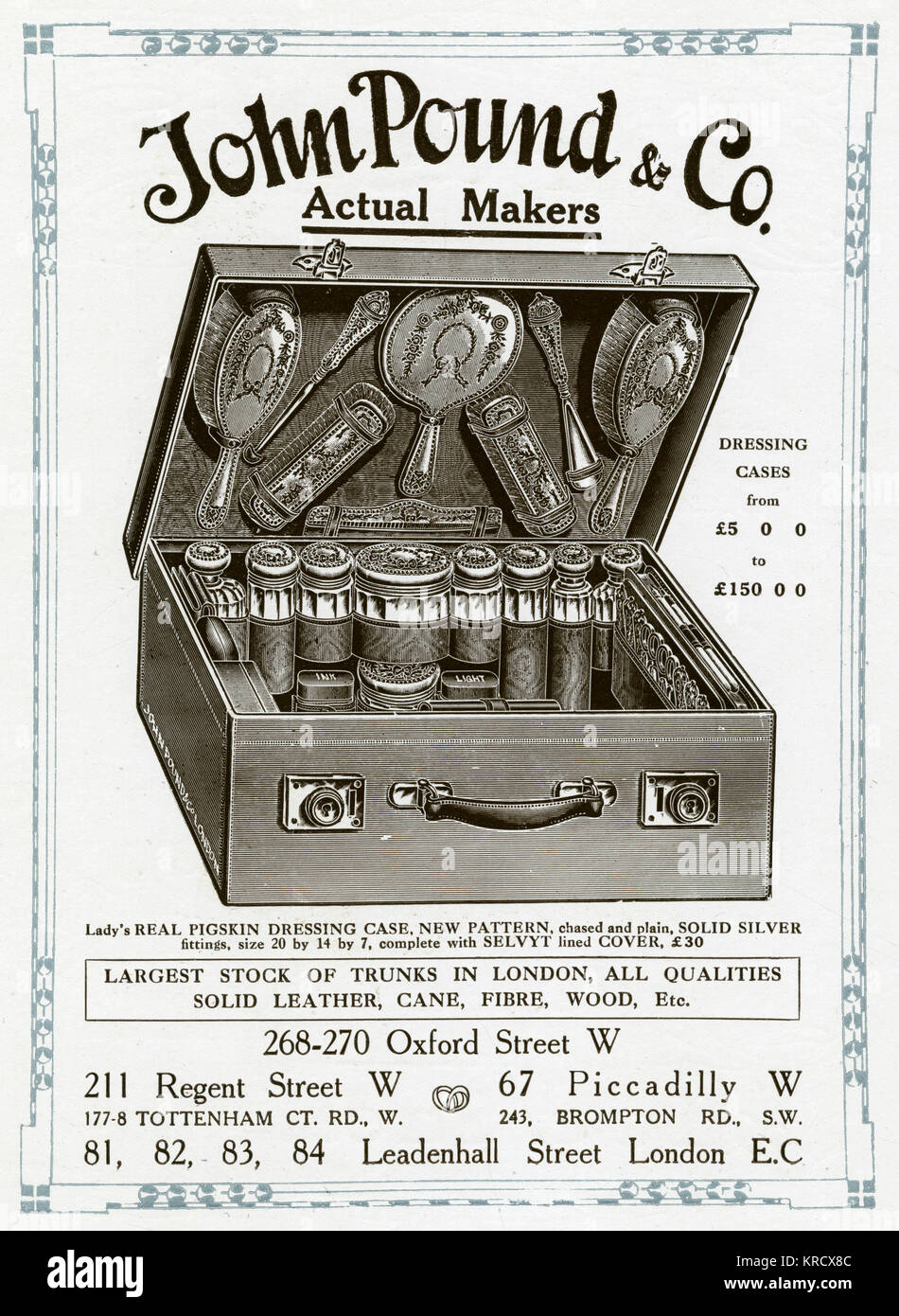 Lady's real pigskin dressing case, with solid silver fittings.  Advertisement John Pound & Co dressing - Stock Image
