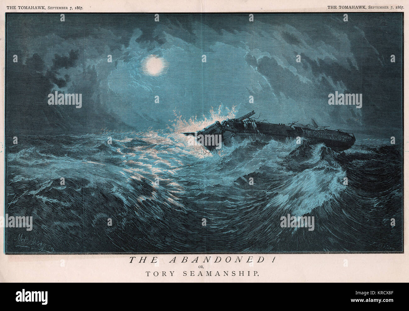 'The Abandoned! or Tory  Seamanship' The Constitution lies wrecked and adrift. A comment on  Disraeli's Reform Act, Stock Photo