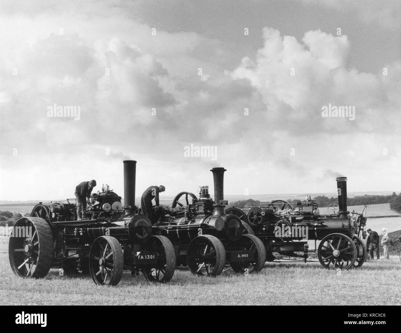 Enthusiasts gather around  three 19th century steam  ploughing engines at the Great  Steam Rally at Stourpaine, - Stock Image