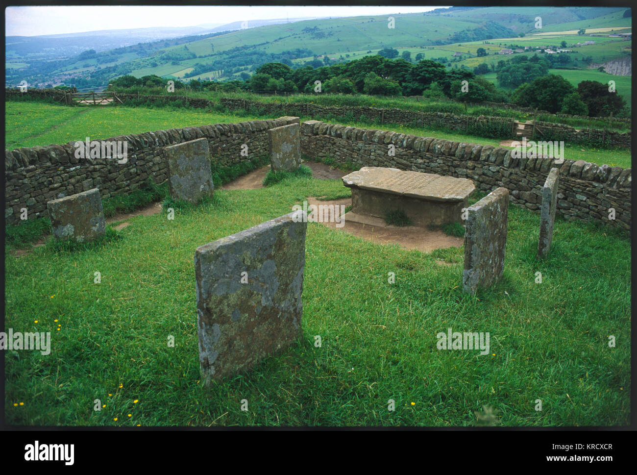 The graves of the Riley  family, on a hillside above  Eyam, Derbyshire, the village famous for having the Great - Stock Image