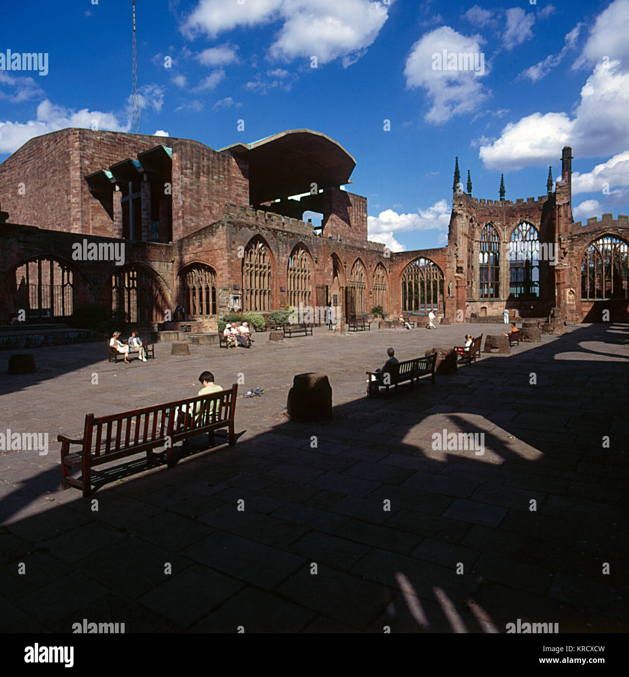 Old Coventry Cathedral, which  was brutally devastated during  the World War Two Blitz on 14  November 1940, with - Stock Image