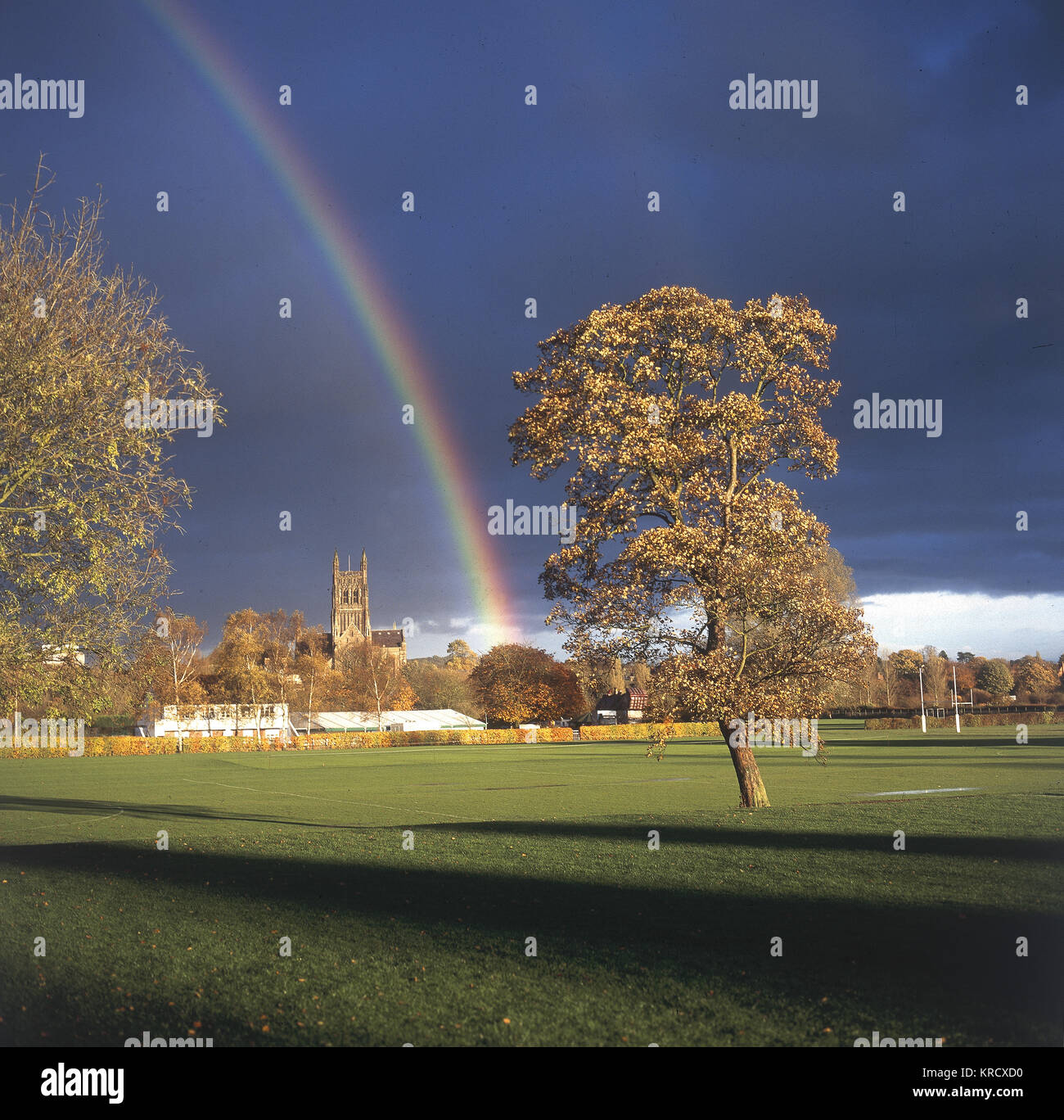 A rainbow over Worcester, with  the Cathedral in the distance.         Date: 2000 - Stock Image