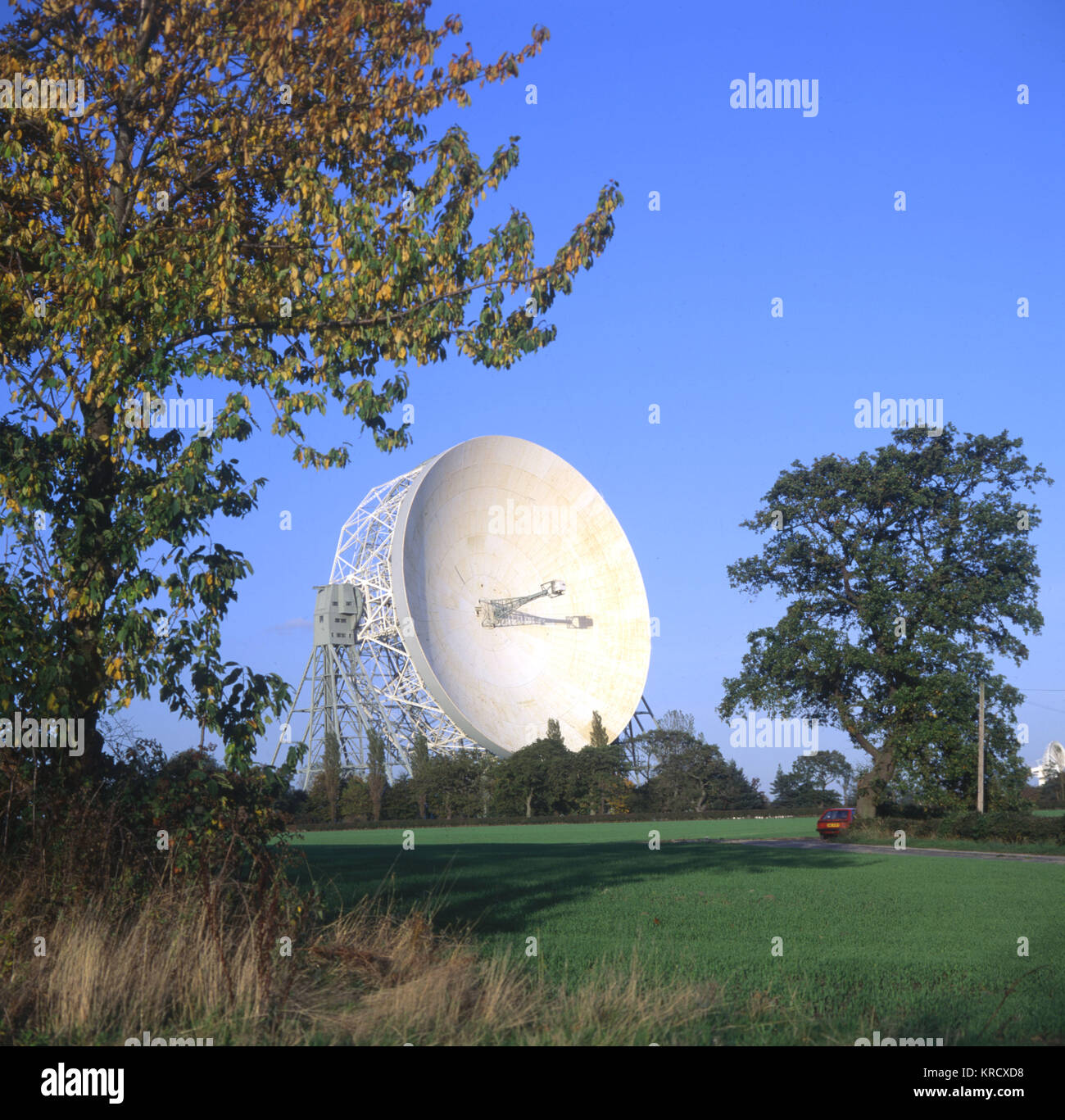 The brainchild of Sir Bernard  Lovell, the Lovell Radio  Telescope was for many years  the largest in the world - Stock Image