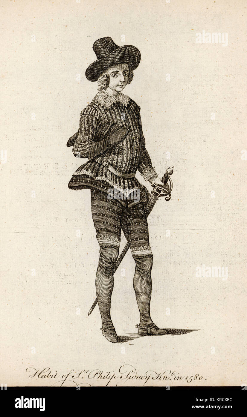 SIR PHILIP SIDNEY  poet and soldier Knighted in 1580       Date: 1554 - 1586 - Stock Image