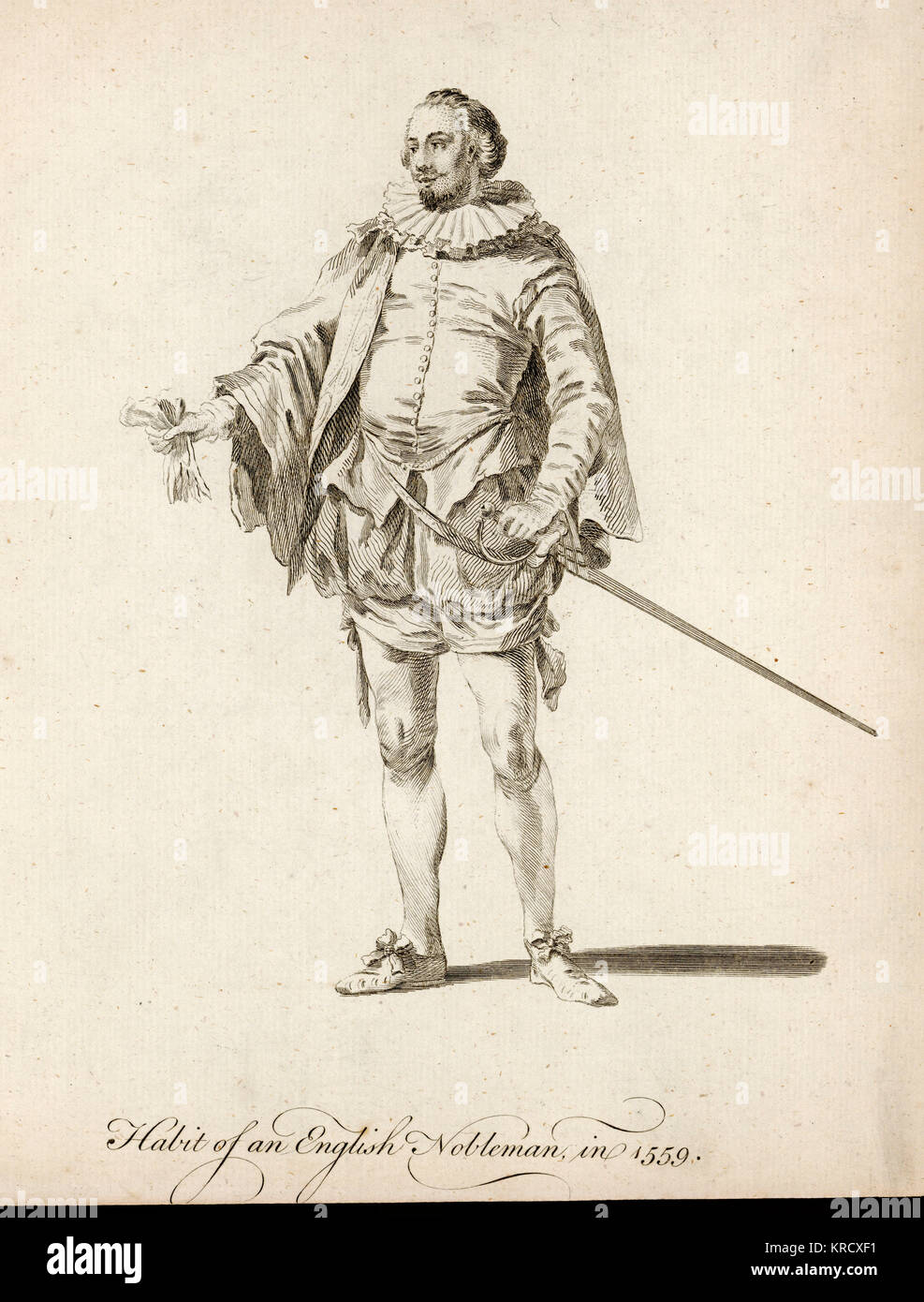Habit of an English nobleman.          Date: 1559 - Stock Image