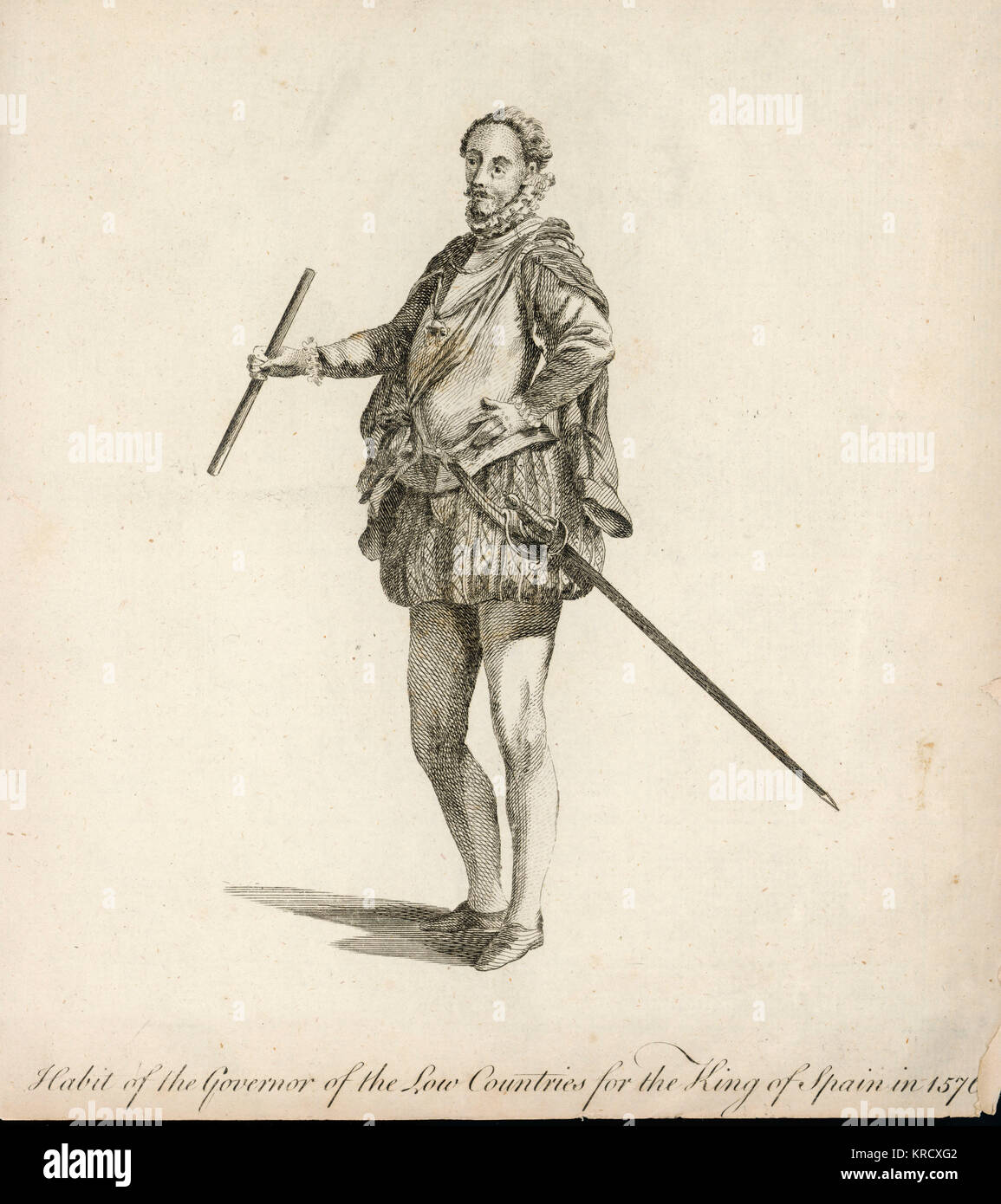 Habit of the Govenor of the  Low Countries for the King of  Spain, Philip II        Date: 1576 - Stock Image