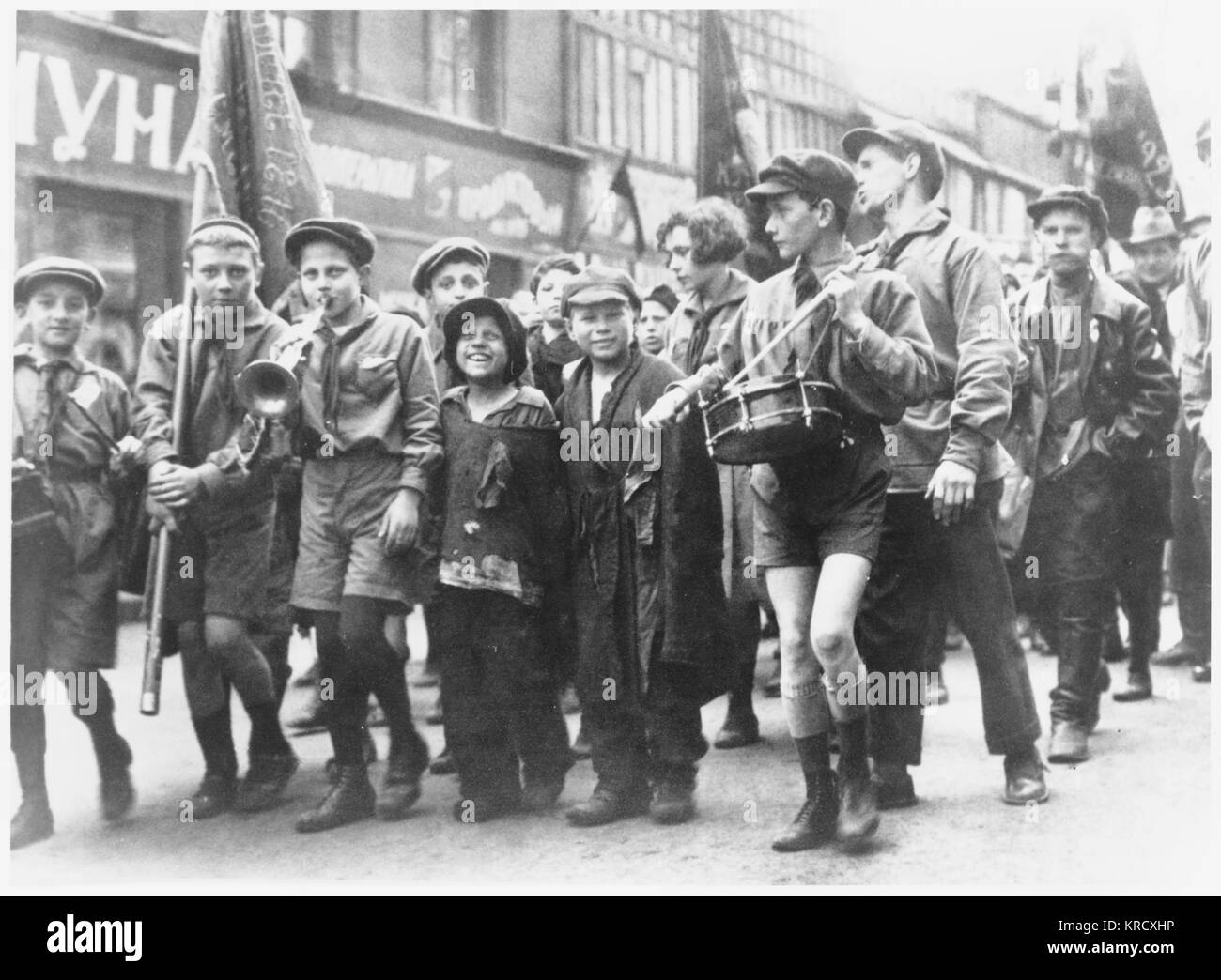 A group of children taking  part in the May Day Parade in  Moscow 1929        Date: 1929 - Stock Image