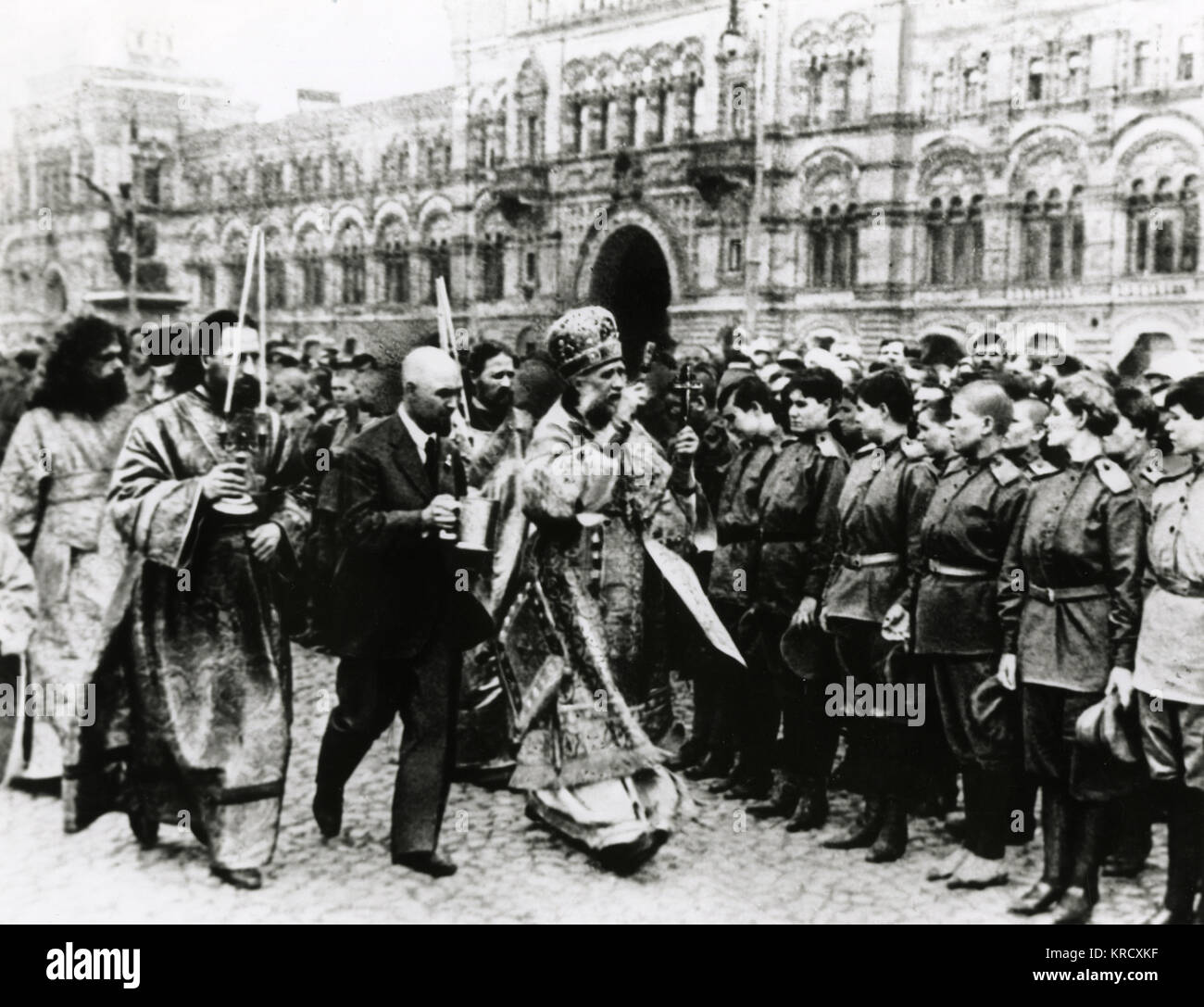 June, 1917 - Red Square, Moscow - Patriarch Nikon blesses members of the famous 'Battalion of Death,' composed - Stock Image