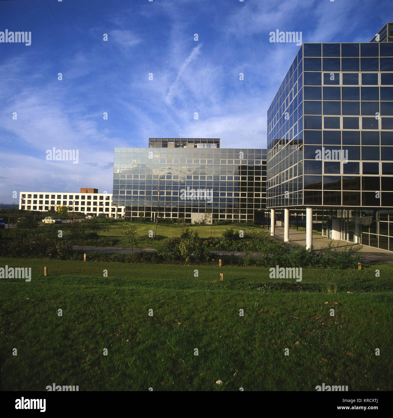 Modern office blocks in the  New Town of Milton Keynes,  Buckinghamshire, England.        Date: 1982 - Stock Image
