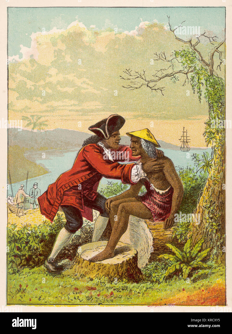 Friday is reunited with his  Father.         Date: First published: 1719 - Stock Image