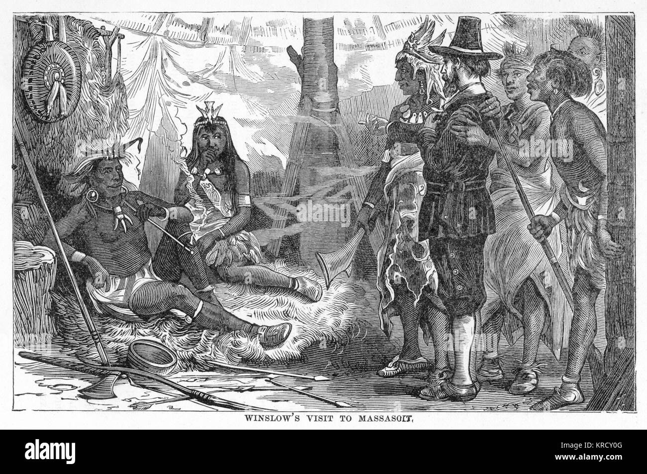 Mr Edward Winslow visits  Massasoit, chief of the  Pokanokets, to explain their  reasons for settling upon his  - Stock Image