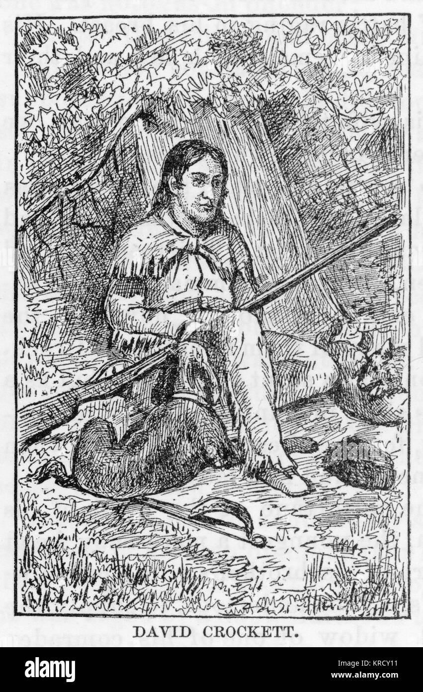 DAVY CROCKETT Famed American pioneer and  political figure, killed in  1836 at the Alamo.       Date: 1786 - 1836 - Stock Image