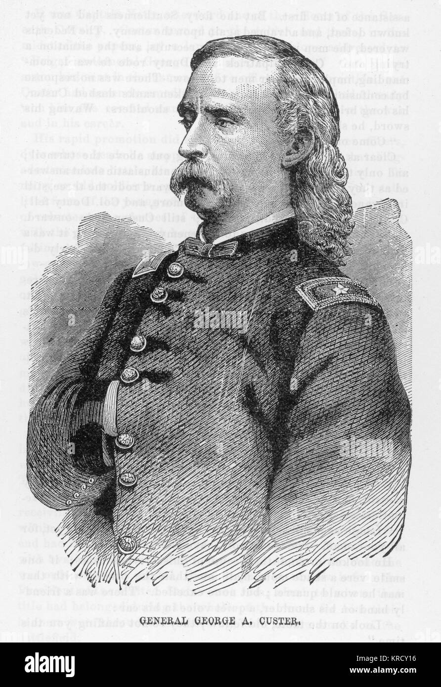 GEORGE A CUSTER  American Soldier, killed at the  battle of Little Big Horn.       Date: 1839-1876 - Stock Image